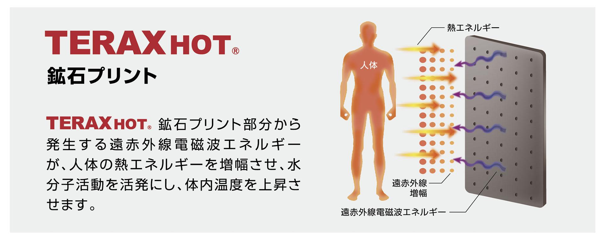 鉱石プリント部分から発生する遠赤外線電磁波エネルギーが、人体の熱エネルギーを増幅させ、水分子活動を活発にし、体内温度を上昇させます。